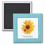 Summer Sunflower Gingham With Name