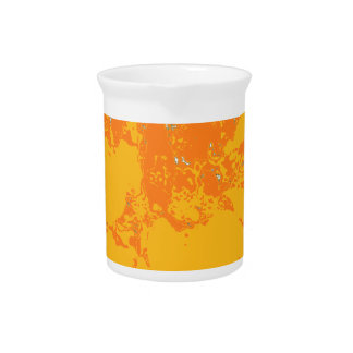 Summer Time Orange Floral Dahlia Flower Pattern Beverage Pitcher