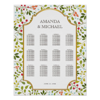 Summer Wildflower Floral Wedding Seating Chart Poster