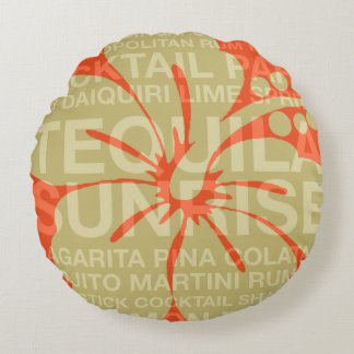 Summer Words Cocktails and Hibiscus Reversible Round Pillow