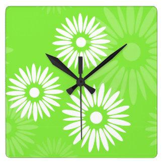 Summertime green flowers Wall Clock