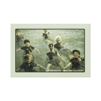 Summertime Swimmers & Old-Fashioned Swimming Hole Stretched Canvas Print