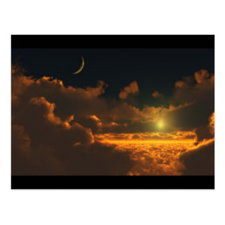 sun and moon in the clouds postcard