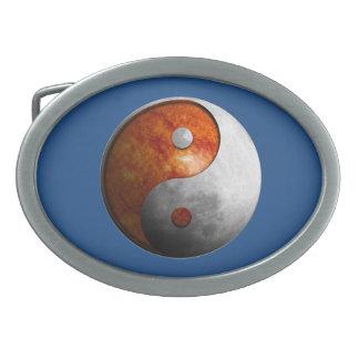 Sun and Moon Yin Yang Oval Belt Buckle