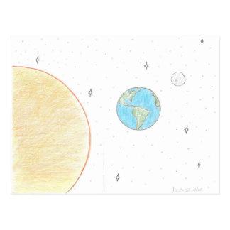 Sun Earth and Moon Postcard