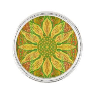 Sun Flower bohemian floral art yellow green orange Lapel Pin