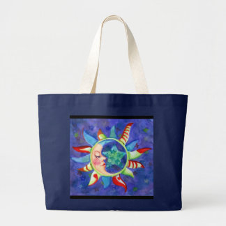 SUN, MOON & STARS by SHARON SHARPE Large Tote Bag
