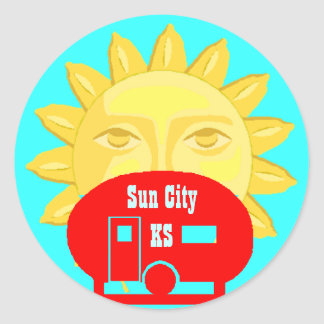 Sun On Camper camp Luggage Label Travel sticker