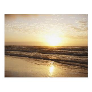 Sun on horizon over ocean postcard