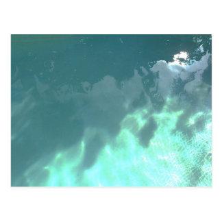 Sun on pool water postcard