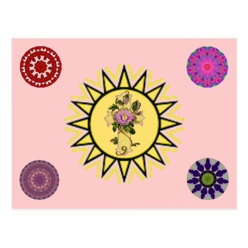 Sun With Cross Post Card