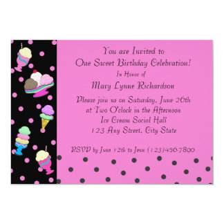 Sundae Shoppe Party 13 Cm X 18 Cm Invitation Card