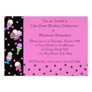 Sundae Shoppe Party Personalized Announcement