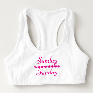 Sunday Funday Cute Funny Pink Heart Sports Bra