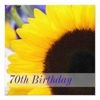 Sunflower 70th Birthday Party 13 Cm X 13 Cm Square Invitation Card