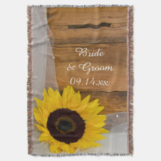 Sunflower and Bridal Veil Country Wedding Throw Blanket