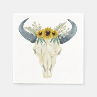 Sunflower and Bull Skull Napkins Disposable Napkin