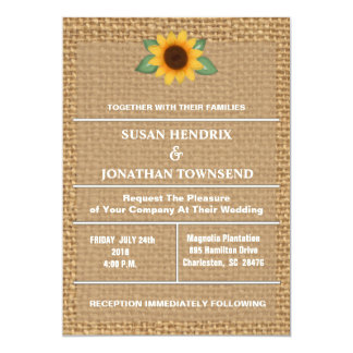Sunflower and Burlap Wedding Invitation