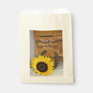 Sunflower and Horseshoe Western Wedding Thank You Favour Bags