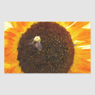 Sunflower Bee Rectangular Sticker