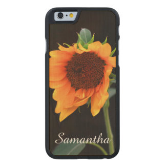 Sunflower bloom carved maple iPhone 6 case