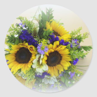 Sunflower Boquet Classic Round Sticker
