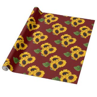 Sunflower Bouquet Pattern Burgundy Gift Wrap Roll