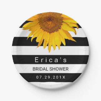 Sunflower Bridal Shower Modern Black White Stripes 7 Inch Paper Plate