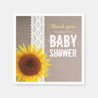 Sunflower Burlap & Crochet Lace Baby Shower Disposable Napkins