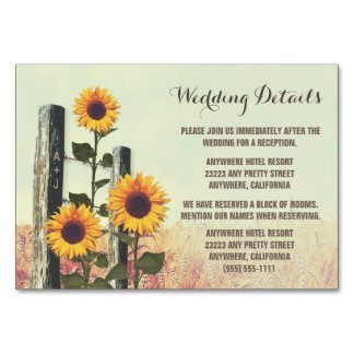 Sunflower Carved Fence Reception + Hotel Cards