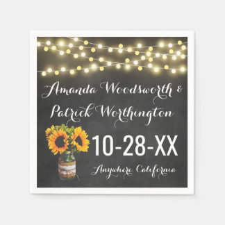 Sunflower Chalkboard Country Rustic Wedding Paper Serviettes