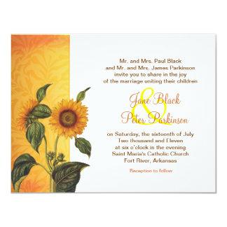 sunflower classic wedding invitation