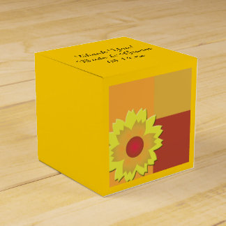 Sunflower Color Block Wedding Favour Box