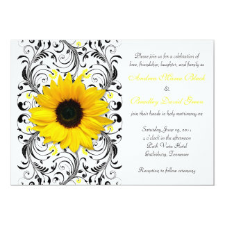 Sunflower Floral Wedding Invitation