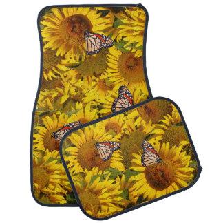 Sunflower Flowers Floral Butterflies Floor Mats