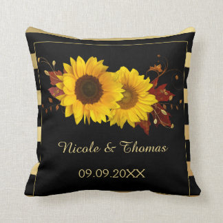 Sunflower Gold Wedding or Anniversary Pillow