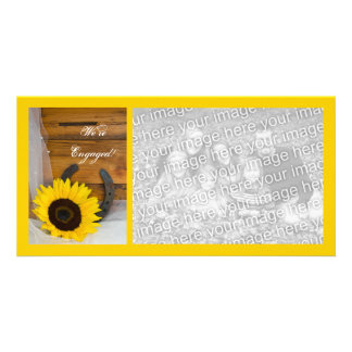 Sunflower Horseshoe Country Engagement Announce Photo Card