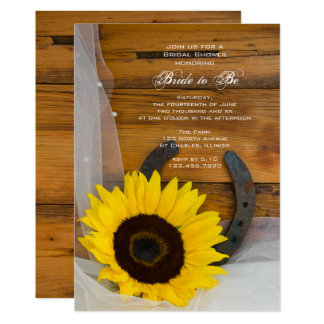 Sunflower Horseshoe Country Western Bridal Shower Card