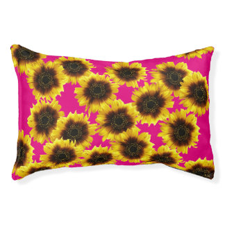 Sunflower In Pink Indoor Dog Bed - Small