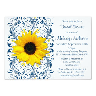 Sunflower Navy Blue White Floral Bridal Shower 11 Cm X 16 Cm Invitation Card