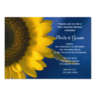 Sunflower on Blue Post Wedding Brunch Invitation