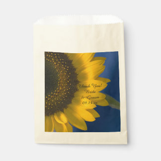 Sunflower on Blue Wedding Thank You Favour Bags