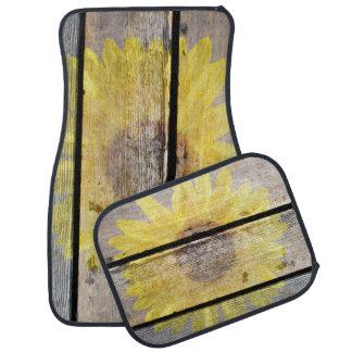 Sunflower On Old Wood Car Mat