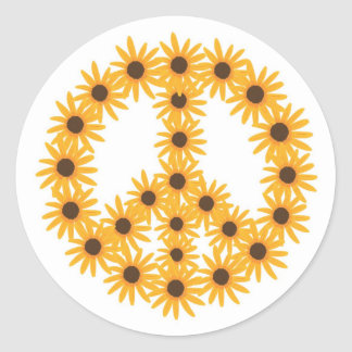 Sunflower Peace Sign Stickers by CherylsArt
