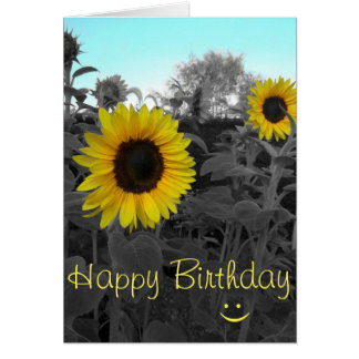 Sunflower Recolor Smiley Birthday Card