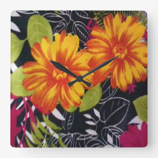 sunflower riot square wall clock