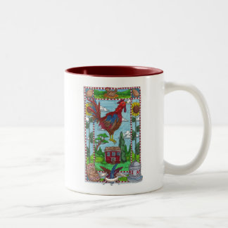Sunflower Rooster Two-Tone Coffee Mug
