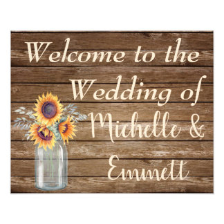 Sunflower Rustic Wedding Welcome Sign, Rustic Photo Print