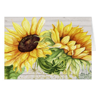 Sunflower Thank You or Blank Note Card