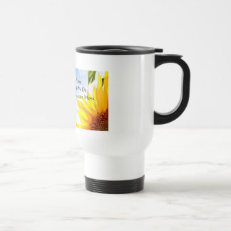 Sunflower Travel Mug with Inspirational Quote